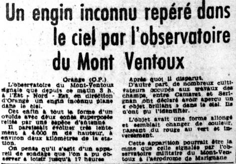 Ovni les ovnis vus de pr s france 1954 16 octobre camaret h rault - Journal le provencal ...