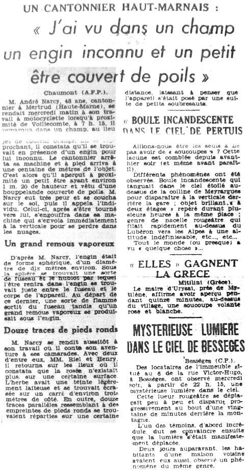 Ovni les ovnis vus de pr s france 1954 4 octobre bess ges gard - Journal le provencal ...