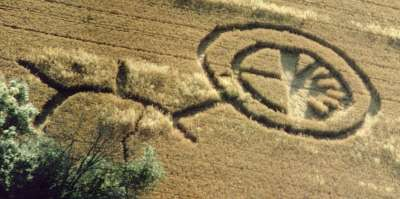 Crop circle ghost trace.